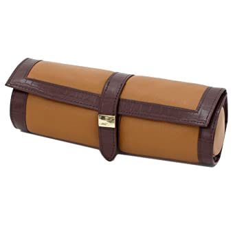 travel case jewelry roll up case leather tan - Jewelry Roll