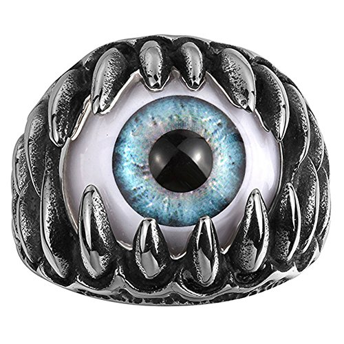 AGOKO Mens Euroupe And America Retro Personality Eye Fashion Titanium Steel ()