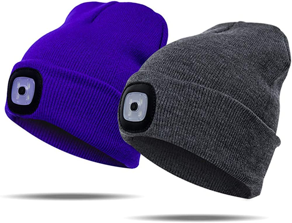 Running Outdoor Activity Black 3 Levels of Brightness LED.for Camping Beanie Cap Unisex Hat Cap Covok Hat with Built-in LED Button Battery Illuminated LED Cap