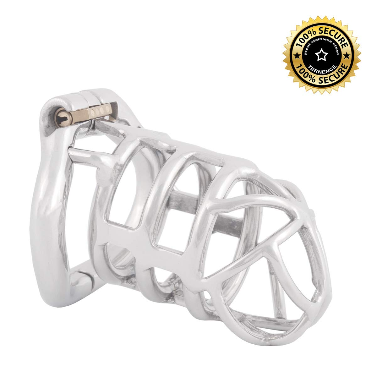 TERNENCE Stealth Convenient Lock Chastity Cage Device Ergonomic Design for Male SM Penis Exercise Sex Toys (50mm L Size) by TERNENCE