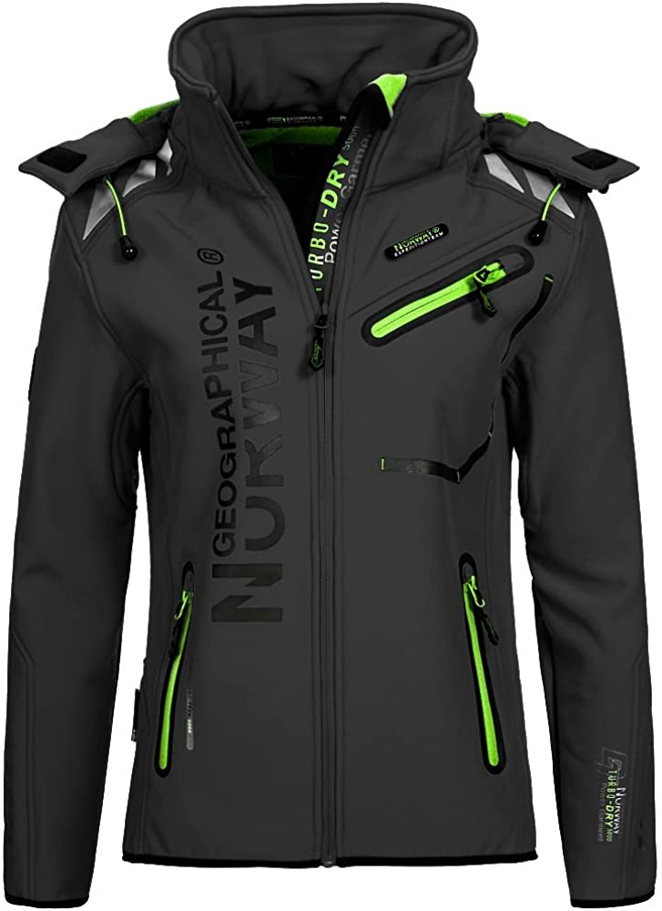 Geographical Norway Mujer Chaqueta Outdoor Softshell Romantic Turbo de Dry Capucha Desmontable