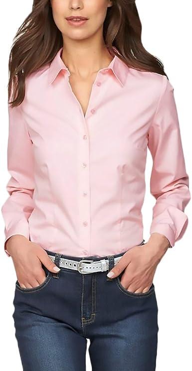 Mujer Camisas Manga Larga Elegantes Oficina Negocios Ejecutiva Blusa Slim Fit De Solapa Color Sólido Botones Básica Camisetas Otoño Invierno Joven Moda Polos Tops (Color : Pink, Size : M): Amazon.es: Ropa