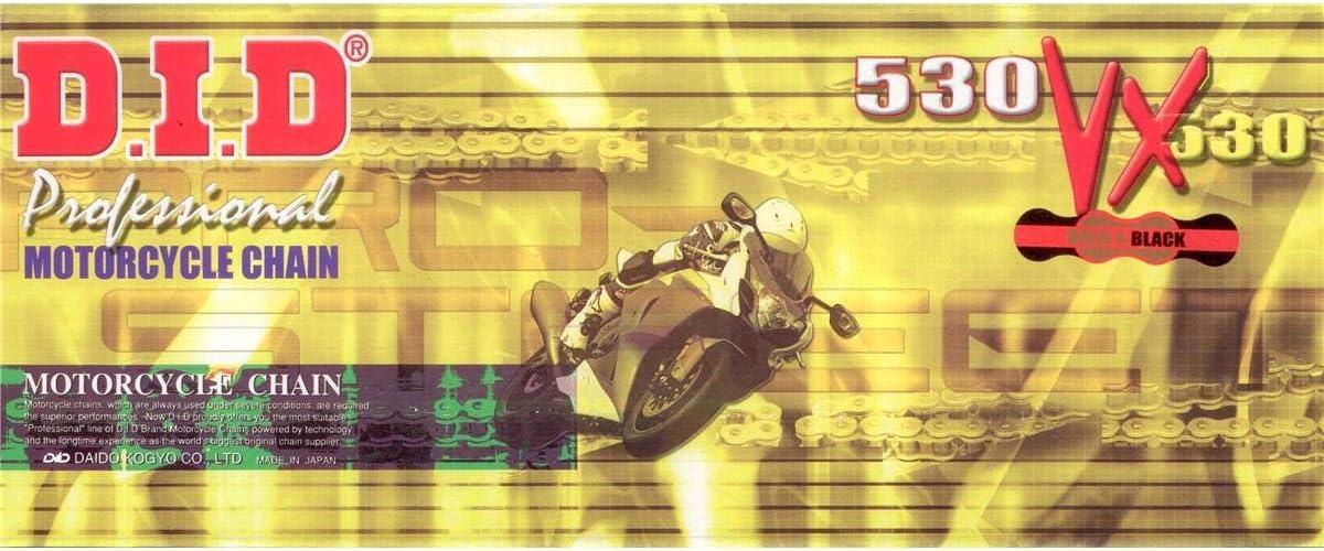 DID X-Ring Kette 530 VX gold//schwarz mit 100 Gliedern offen mit Hohl-Niet-Schloss