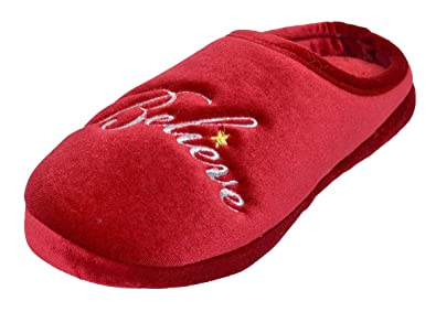 4fcb733bda4 Charter Club Women s Holiday Believe Clog Slippers Red (Small ...