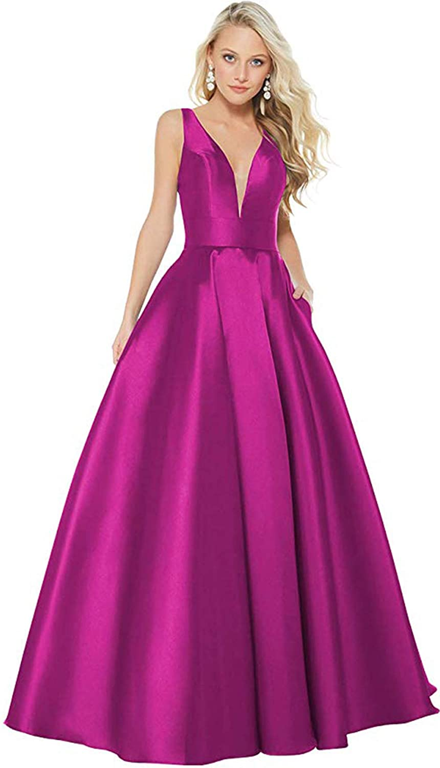 Fuchsia Rmaytiked Womens V Neck Prom Dresses Long 2019 Satin A Line Formal Evening Ball Gowns with Pockets