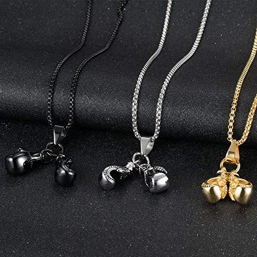 Davitu Hot Brand Men Stainless Steel Boxing Gloves Pendant Choker Necklace Punk Colar Sport Fitness Jewelry Metal Color: K0796-1