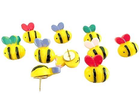Amazon.com : 10 PCS Bumble Bee Push Pins, Bulletin Board Bee Shape ...