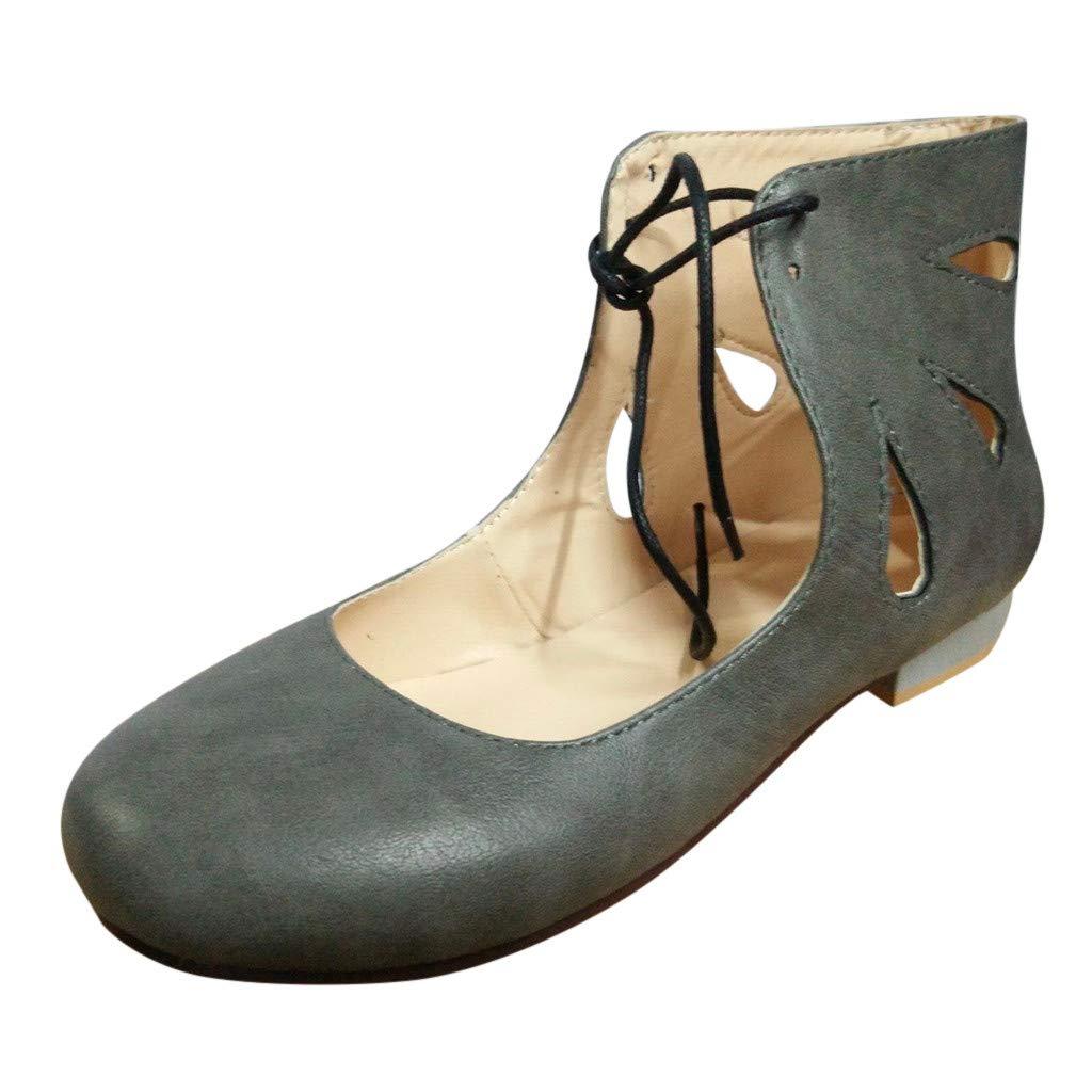 9ed4446b560 Amazon.com: Lefthigh Womens Lace-up Low Heel Sandals, Retro Round ...
