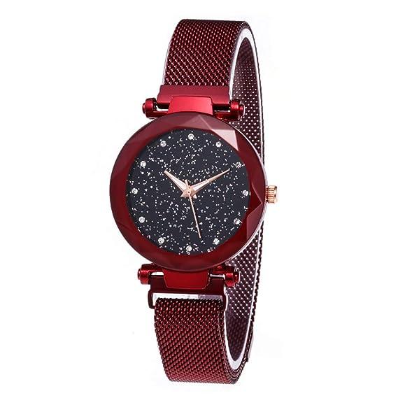 b039d9913 Amazon.com: JIUMAN Luxury Starry Sky Women Watches Rose Gold Bracelet  Rhinestones Quartz Ladies Watch Thin Steel Female Waistwatch (Red): Watches