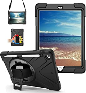 iPad 9.7 Case 2018/2017 with Pencil Holder, 360 Degree Built-in Swivel Stand Hand Strap and Shoulder Strap,Heavy Duty Rugged Shockproof Protective Carrying Case for iPad 5th/6th Generation (Black)