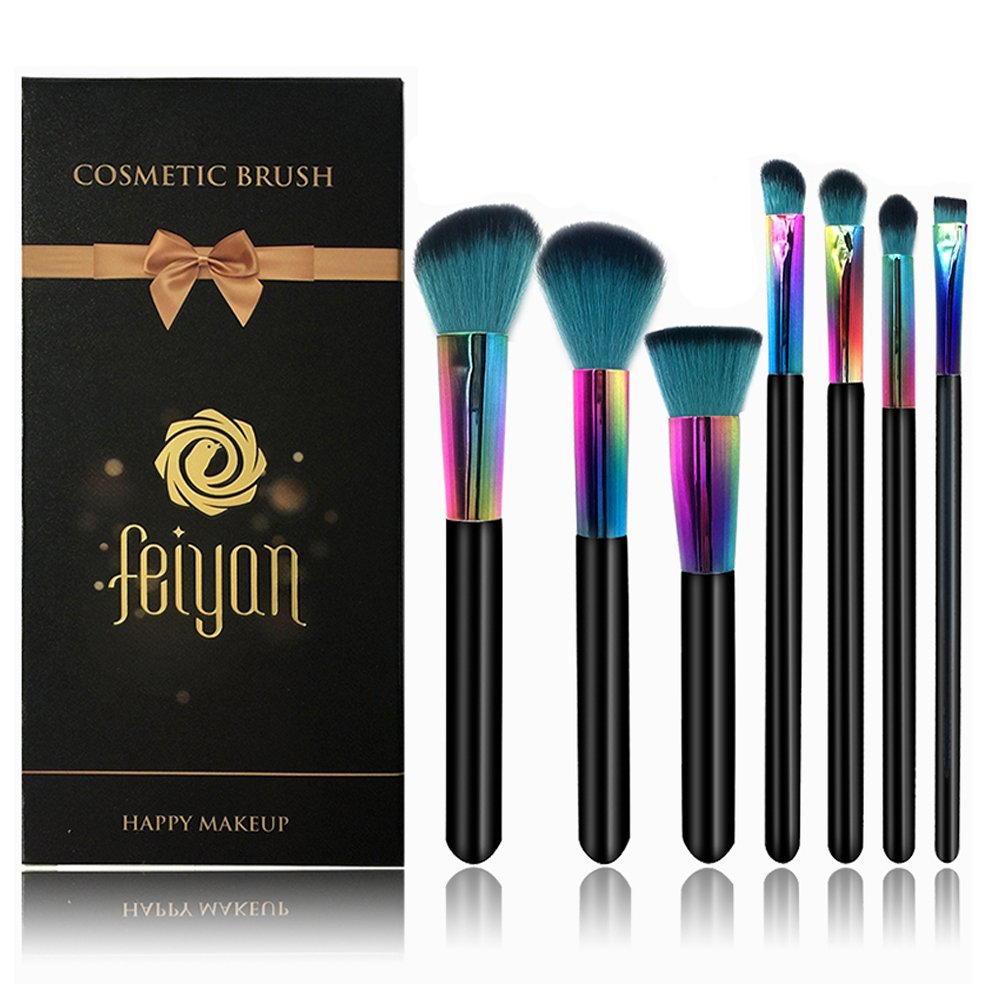 FEIYAN Professional Makeup Brushes Set Natural Goat Hair Face Eyeshadow Eyeliner Foundation Blush Lip Brushes tool (7pcs, colorful)