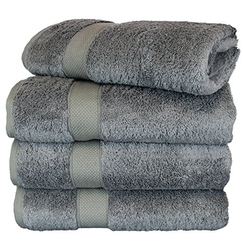 Piece Spa Collection Home 4 (BC BARE COTTON Luxury Hotel & Spa Towel Turkish Cotton Rayon Bath Set of 4, Gray, 4 Piece)