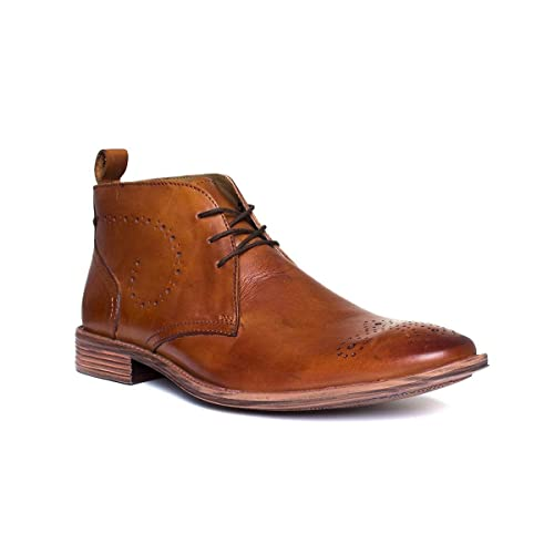 bd62dc5a Catesby Mens Tan Lace Up Brogue Boot: Amazon.co.uk: Shoes & Bags