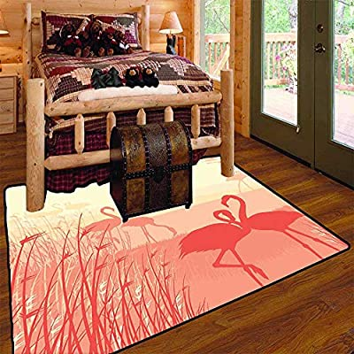 Camping Rugs for Outside,Pink Flamingos in The wildLarge Floor Mats for Living Room