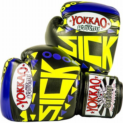 Yokkao Boxing ボクシンググローブ Sick バイオレット/黄/Yokkao ヨッカオ ブルテリア Bull Terrier ボクシンググローブ 本革仕様 ムエタイ キックボクシング ムエタイ本場タイのブランド B07QLR67M9  14oz