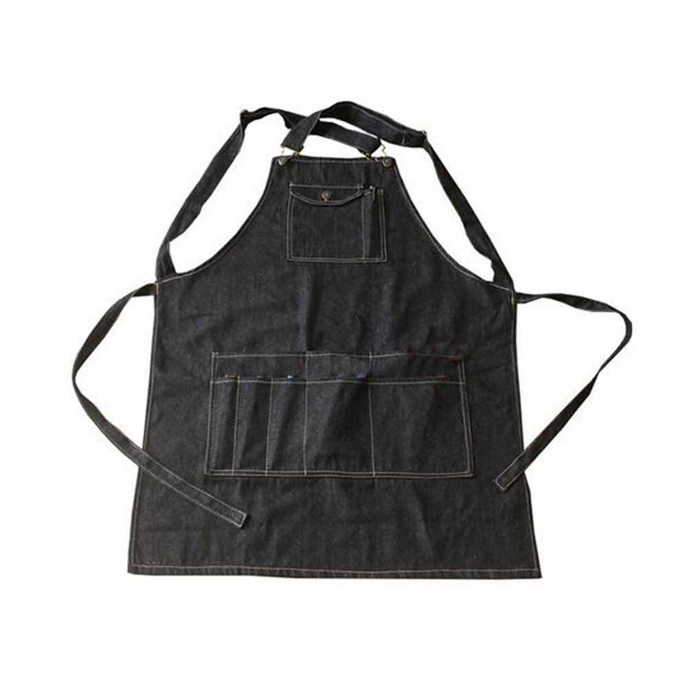 Black Cotton Denim Apron Cooking Apron With Pocket Strap For Barber Chef S duojin