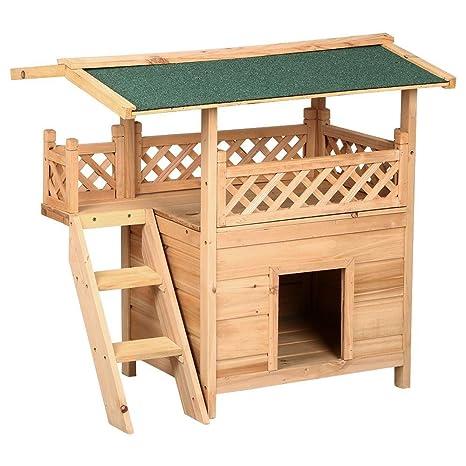 yahee XXL Caseta gato cabaña Perros Gato Mascota Casa Madera Jardín sol Terraza con machimbre