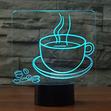Amazon.com: 3d taza de café luz de noche Touch interruptor ...