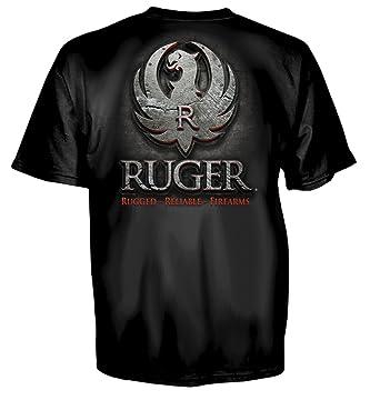 524ef0a71896d Amazon.com  Ruger Metal Logo Mens T-Shirt  Clothing