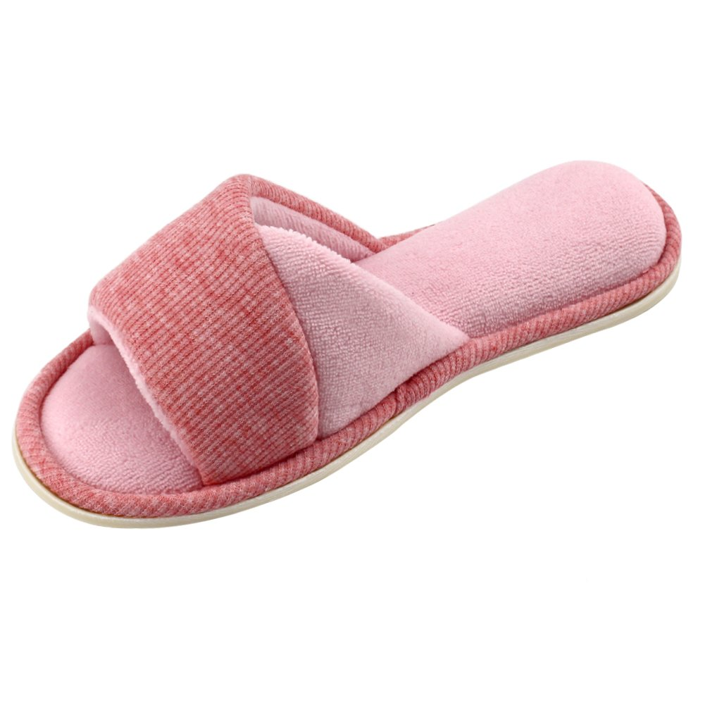 f56d848d0 HomeIdeas Women's Open Toe Terrycloth Slide House Slippers with Comfy  Velvet Lining, Memory Foam Indoor Shoes