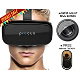 """Procus ONE Virtual Reality Headset - 42MM Lenses- Fully Adjustable VR Glasses - VR Headset For VR Video Gaming, Movies, Pictures - Compatible With All 3.5""""-6"""" Android Phones, iPhones, Samsung Galaxy. Inspired by Google Cardboard, Oculus Rift"""
