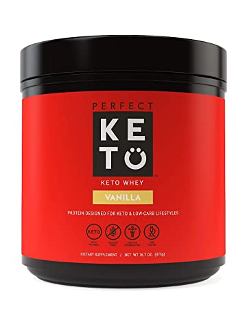Perfect Keto Pure Whey Protein Powder Isolate Delicious 100 Grass Fed Whey No Artificials, Gluten Free, Soy Free, Non-GMO Vanilla