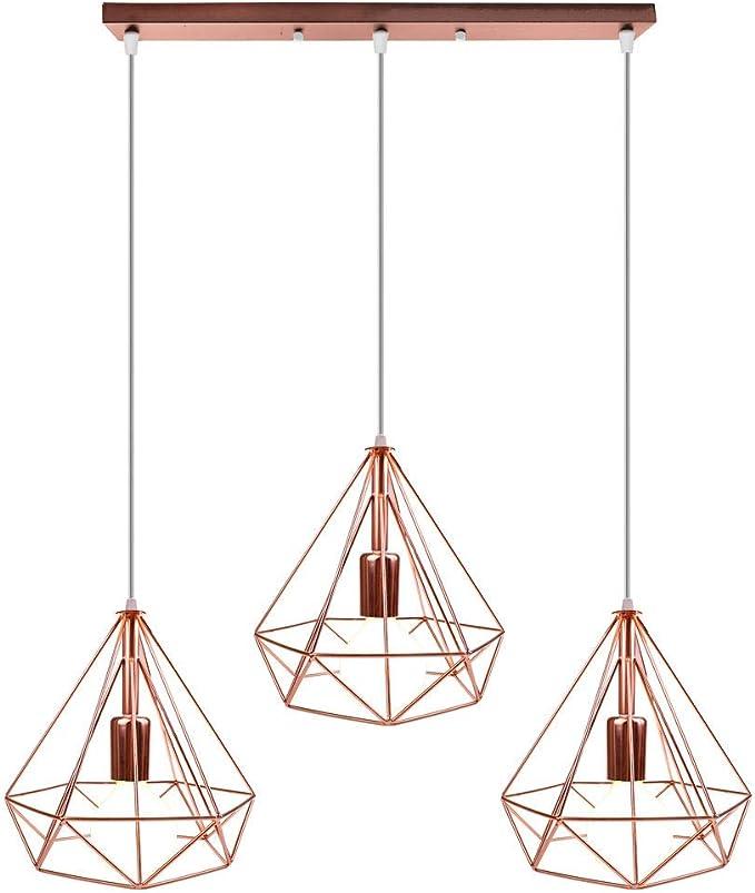 STOEX Nórdico Lámpara de Techo Colgante Retro Industrial Lámpara Colgante 3 Luces Diamante Jaula Araña para Cocina Comedor Sala de estar Pasillo, Oro Rosa