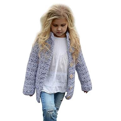Bebé recien nacido Botón de punto Sólido lana abrigo , Yannerr niña niño invierno primavera chaqueta