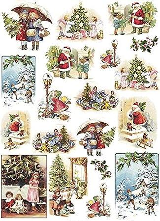 Vintage Bilder Weihnachten.Zita S Creative Reispapier A4 Vintage Christmas Motiv Strohseide