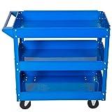 Profi Werkstattwagen Werkzeugwagen Rollwagen Montagewagen Werkstatt 3 Etagen (Blau)