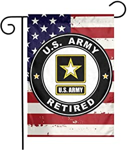 US MILITARY U.S. Army Retired Flag Armed Forces Double-Sided Lawn Decoration Gift House Garden Yard Banner United State American Military Veteran, 12