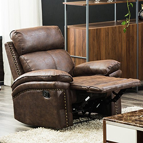 FLIEKS Recliner Chair Leather Sofa Brown Reclining Couch Sofa Leather Chair Reclining Manual Recliner for Home Office Single Seat