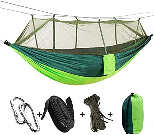 WOVUU Camping Hammock with Net,Lightweight Outdoor Indoor Portable Hammock with Tree Starps,Carabiners,Durable Parachute Nylon Hammocks for Travel Backpacking Hiking Fishing Adventures