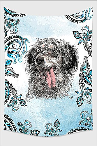 Nalahome-Animal English Setter Cute Young Funny Pet Ethnic Tribal Bohemian Hippie Indian Yoga Mandala Art Prints Dogs Blue Gray White Black Tapestry Wall Hanging Wall Tap 10L x 8W Inches (English Setter Tapestry)