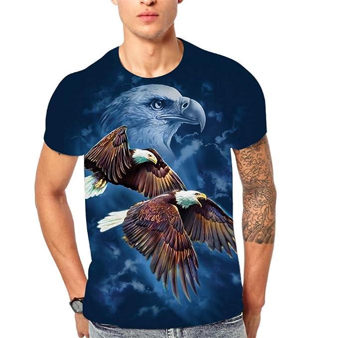 Bestow Blusa de Hombre Camiseta de Manga Corta con Estampado Corto y Estampado de águila 3D Flying Top para Hombre: Amazon.es: Ropa y accesorios