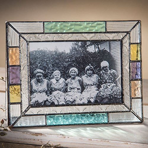 Multi Colored Stained Glass 4x6 Tabletop Picture Frame Blue