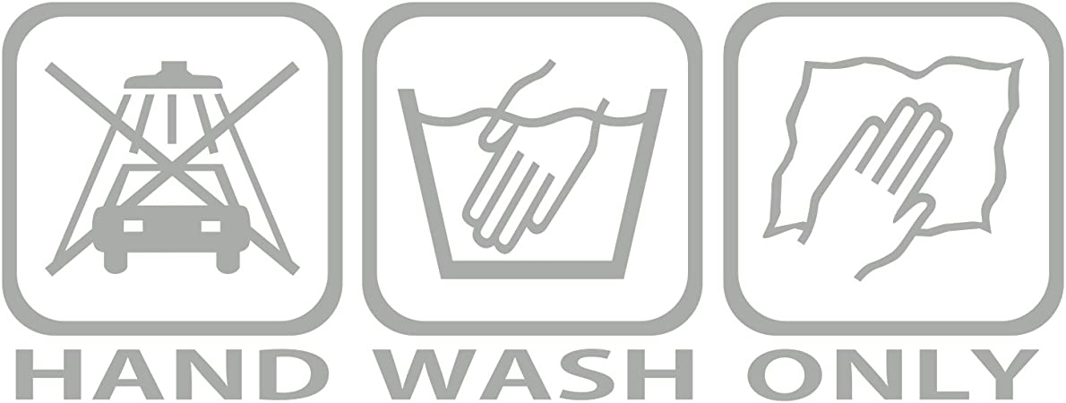 Folistick Hand Wash Only Aufkleber Handwäsche Pflege Autoaufkleber Ha2 Silber Auto