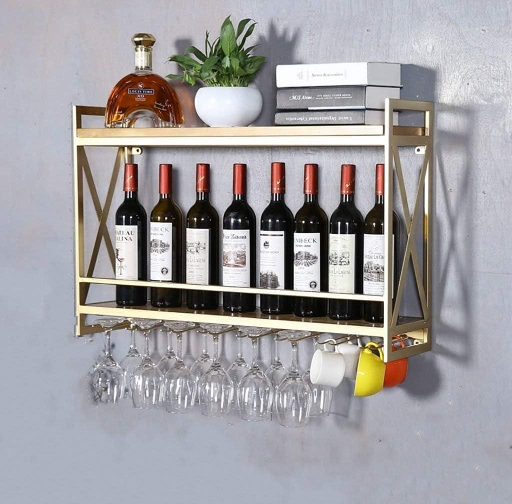 WJC ヨーロッパ錬鉄製のワインラック壁掛けラッククリエイティブレストランの装飾デコレーションラック無垢材ワインクーラーワイングラスホルダー (Size : 80x20x52cm)