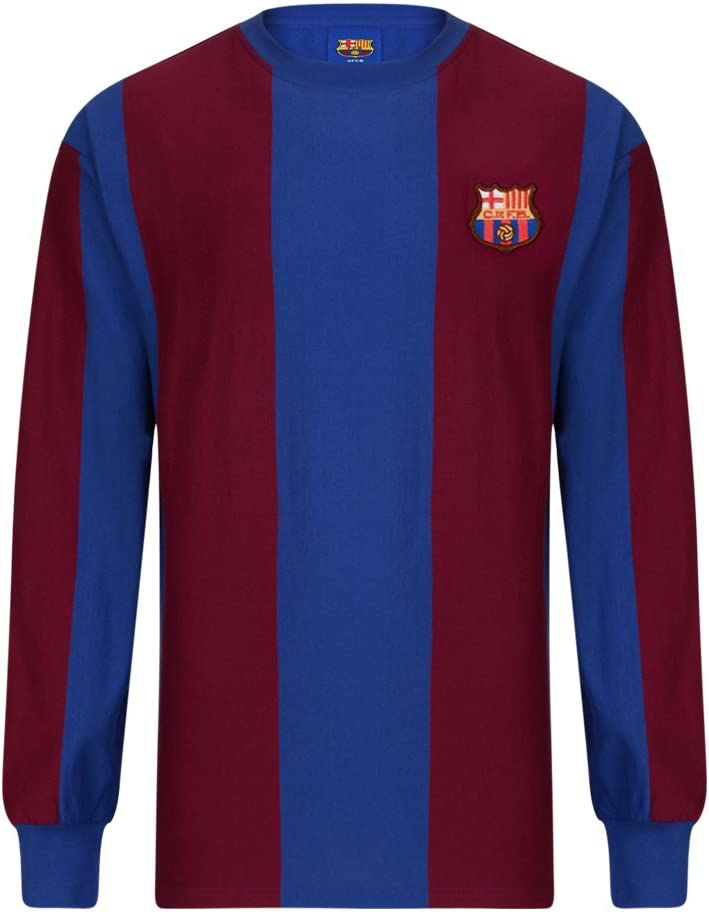 FC Barcelona 1974 Retro de manga larga camiseta, rot - blau, xx-large: Amazon.es: Deportes y aire libre