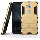 Heartly Graphic Designed Kick Stand Hard Dual Rugged Armor Hybrid Bumper Back Case Cover For Huawei Honor 5X - Mobile Gold