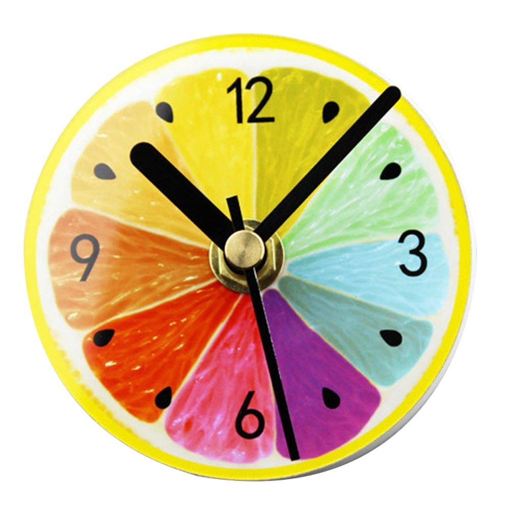 Magnetic Fridge Clock Mini Silent Sweep DIY Clock for Home Kitchen(Green Lemon ) Bemall