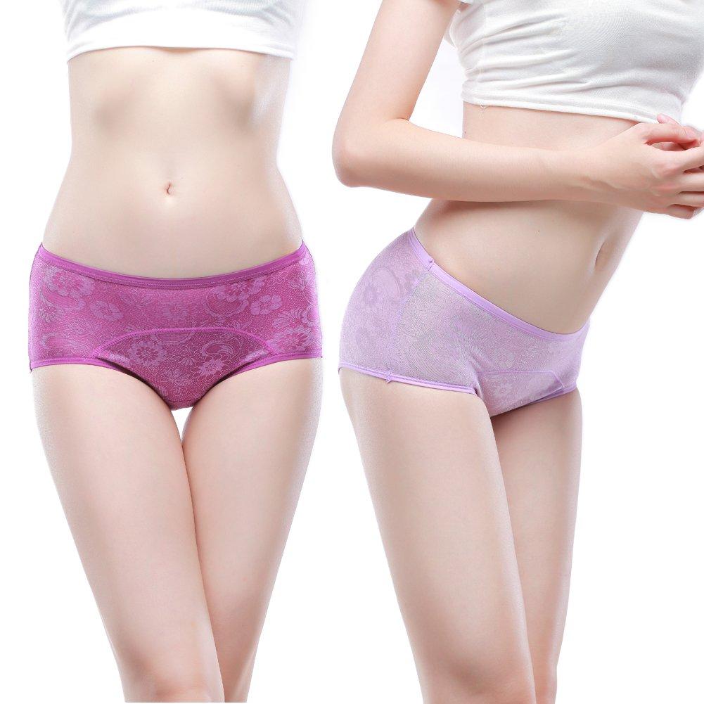 Women Menstrual Period Briefs Jacquard Easy Clean Panties Multi Pack XS-4XL//11