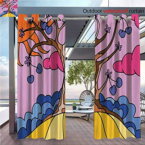 DESPKON Shading of Outdoor Curtains Cherry Tree with Sun Flowers and Clouds Funky Style Life Home Suitable for Outdoor Room. W55 x L63 INCH ()
