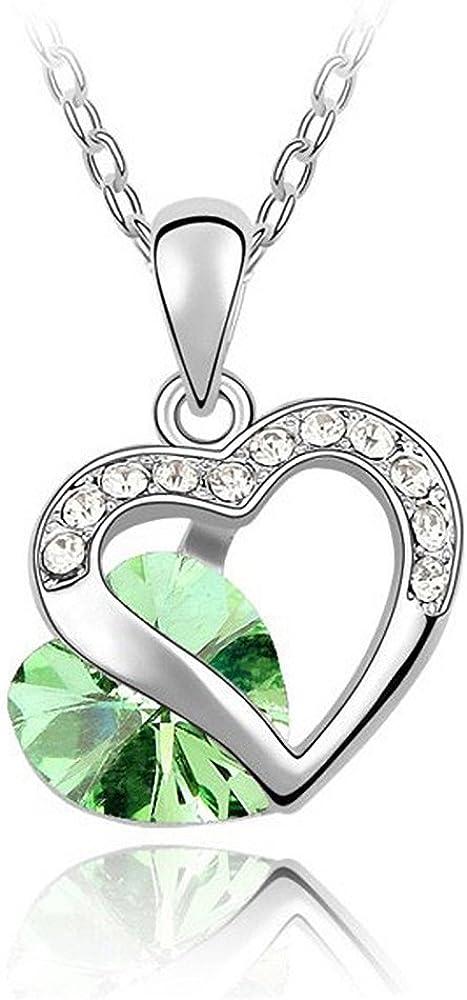 Colgante doble para mujer corazón 2 corazón circonios piedras brillantes cristal oro blanco plateado