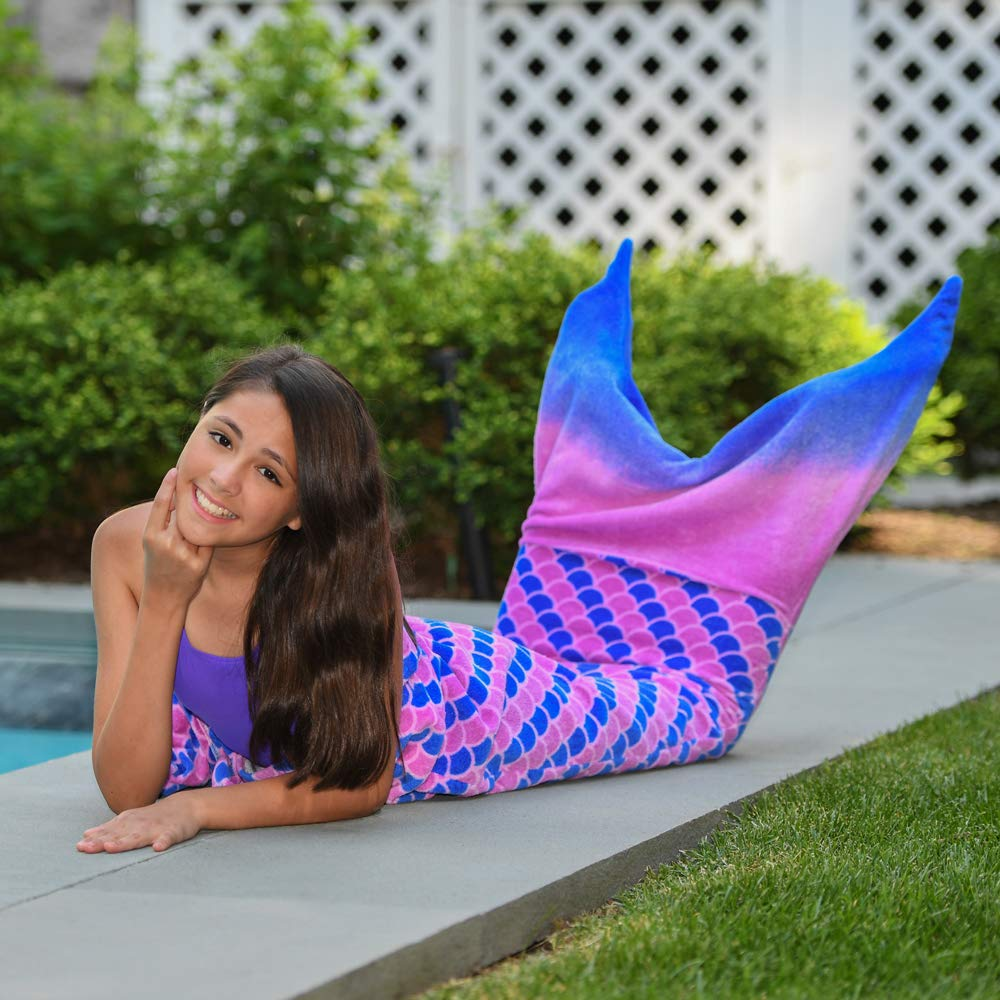 Toweltails 100% Cotton Mermaid Tail Shaped Towel for Girls 55'' long perfect for the Beach Pool or Bath in Pink and Purple by Toweltails (Image #3)