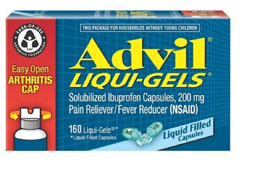 Advil Gel Cap 200 MG Liquid Gel E-Z Open, 160 Count (5 Pack) by Advil