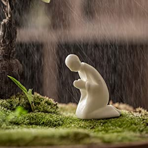 New Chinese Zen Style Dehua White Porcelain Non Phase Figure Small Ornaments Home Decoration Ceramic Micro Landscape Matching Accessories (knelling)