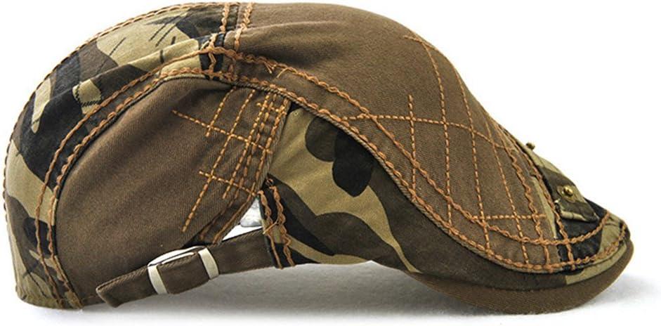 Roffatide Casquette B/éret Plate en Coton /Ét/é De Plein Air Vintage Camo Newsboy Ivy Duckbill Chapeau pour Hommes