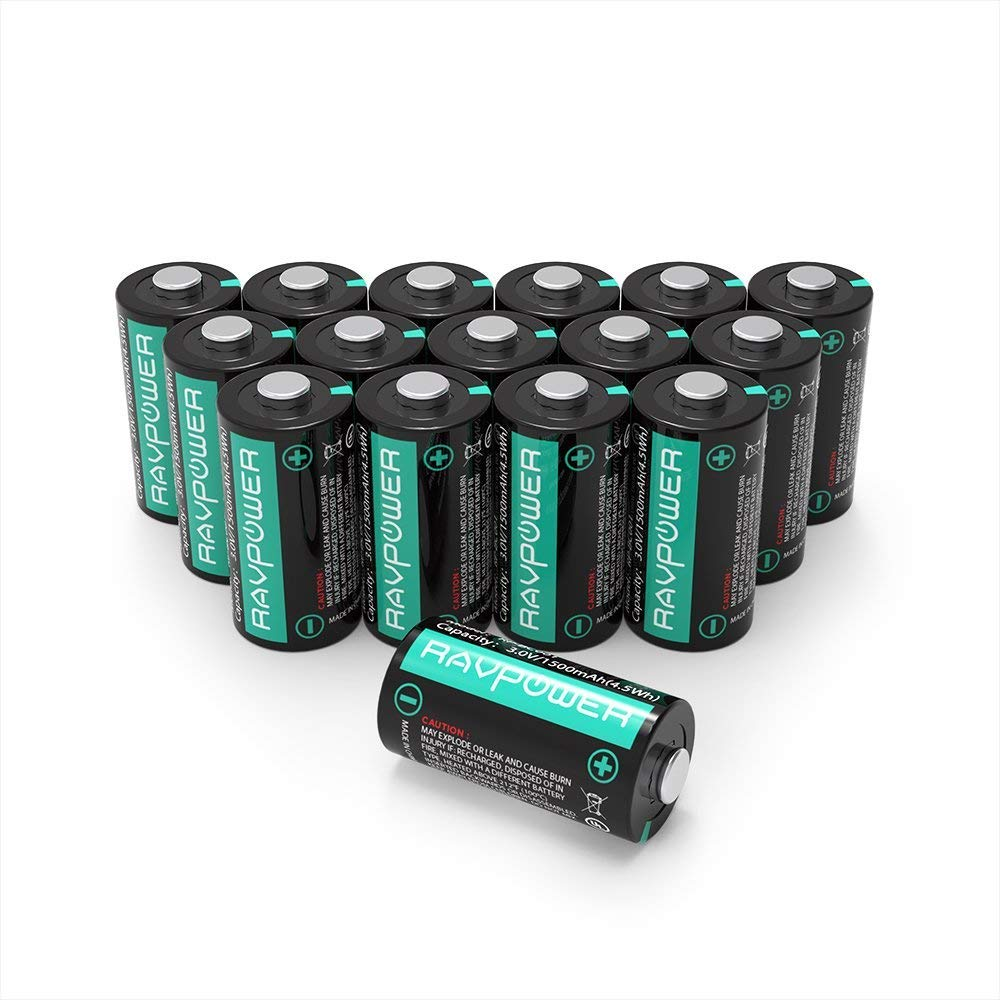 Updated CR123A Lithium Batteries RAVPower Non-Rechargeable 3V Lithium Battery, 1500mAh Each, 16-Pack, 10 Years of Shelf Life for Polaroid, Microphones, Flashlight, Arlo Cameras [CAN NOT BE RECHARGED] by RAVPower