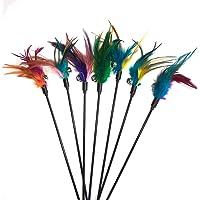 Fliyeong Katzenspielzeug - Kugelschreiber mit Glocken und Federn, zufällige Farbe Haustier Katzenspielzeug 60CM